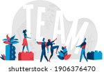 people holding the letters of... | Shutterstock .eps vector #1906376470