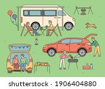 people who enjoy auto camping.... | Shutterstock .eps vector #1906404880