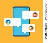 online chat on mobile phone... | Shutterstock .eps vector #1906407640