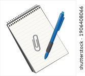 paper notebook with paperclip...   Shutterstock .eps vector #1906408066
