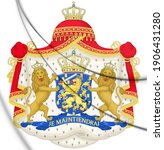 3D Royal coat of arms of the Netherlands (1815-1907). 3D Illustration.