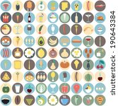 colorful food icons. circle...