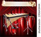 Musical background series. Set of musical instruments, isolated on a red velvet curtain background. Vector illustration