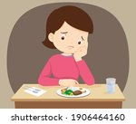 woman bored with food  mother... | Shutterstock .eps vector #1906464160
