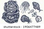 scuba diver helmet  jellyfish.... | Shutterstock .eps vector #1906477489