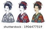 geisha woman portrait. asian... | Shutterstock .eps vector #1906477519