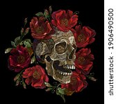 embroidery human skull and red... | Shutterstock .eps vector #1906490500