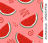 watermelon slices and doodles... | Shutterstock .eps vector #1906519936