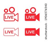 set of live streaming icon....