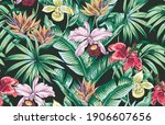 tropical floral vector seamless ... | Shutterstock .eps vector #1906607656