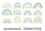 spring pastel rainbow in blue... | Shutterstock .eps vector #1906627033