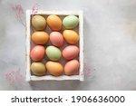 Pastel Easter Eggs In White...