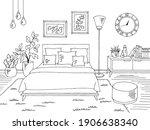 bedroom graphic black white... | Shutterstock .eps vector #1906638340