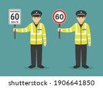 isolated police officer holding ... | Shutterstock .eps vector #1906641850