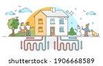 geothermal energy family house... | Shutterstock .eps vector #1906668589