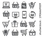 online shopping icons on white... | Shutterstock .eps vector #1906669009