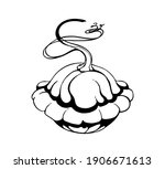 vector drawing patisson  black... | Shutterstock .eps vector #1906671613