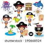 Pirate girl colorful vector illustration
