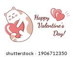 cartoon cute cat with heart for ...   Shutterstock .eps vector #1906712350