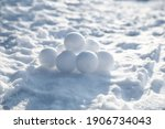 Pile Of Snowballs Outdoors On...