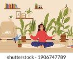 girl relaxed in home garden.... | Shutterstock .eps vector #1906747789