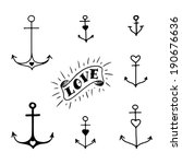 set of seven hand drawn anchors ... | Shutterstock .eps vector #190676636