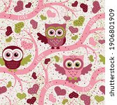 owls in spring seamless pattern ... | Shutterstock .eps vector #1906801909