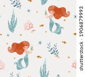seamless childish pattern with... | Shutterstock .eps vector #1906879993