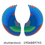 wings in egyptian style. hand... | Shutterstock .eps vector #1906889743