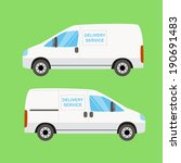 white delivery van twice on the ...   Shutterstock . vector #190691483