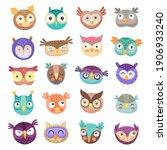 owl and owlet faces cartoon... | Shutterstock .eps vector #1906933240