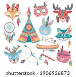 cute native american or indian...   Shutterstock .eps vector #1906936873
