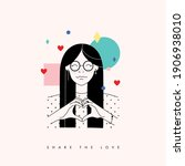love card with cute girl and...   Shutterstock .eps vector #1906938010