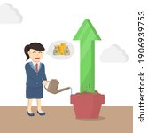 business woman secretary watering the up arrow design character on white background