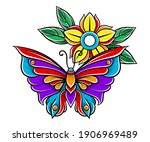 old school badge with stylized... | Shutterstock .eps vector #1906969489