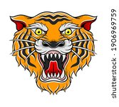 striped roaring tiger muzzle as ... | Shutterstock .eps vector #1906969759
