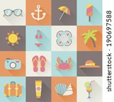 set of flat beach summer... | Shutterstock .eps vector #190697588