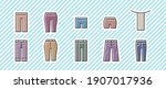 fashion icon 10 set. vector... | Shutterstock .eps vector #1907017936