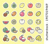 fruit icon 25 set. vector... | Shutterstock .eps vector #1907019469