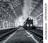 Retro Steam Train Stands By The ...