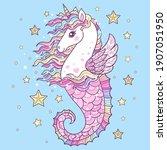 beautiful seahorse unicorn....   Shutterstock .eps vector #1907051950