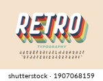 retro style colorful font... | Shutterstock .eps vector #1907068159