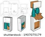 packaging for bottle and glass... | Shutterstock .eps vector #1907075179