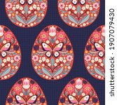 seamless pattern with easter... | Shutterstock .eps vector #1907079430