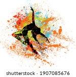 beautiful dancing girl in... | Shutterstock .eps vector #1907085676