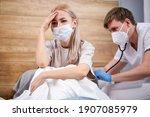 young woman sick of flu viral... | Shutterstock . vector #1907085979