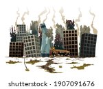 destroyed city. street of a... | Shutterstock .eps vector #1907091676