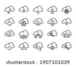 cloud storage sign black thin...   Shutterstock .eps vector #1907101039