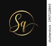 initial sq gold script circle...   Shutterstock .eps vector #1907128843