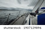 Sloop Rigged Modern Yacht With...